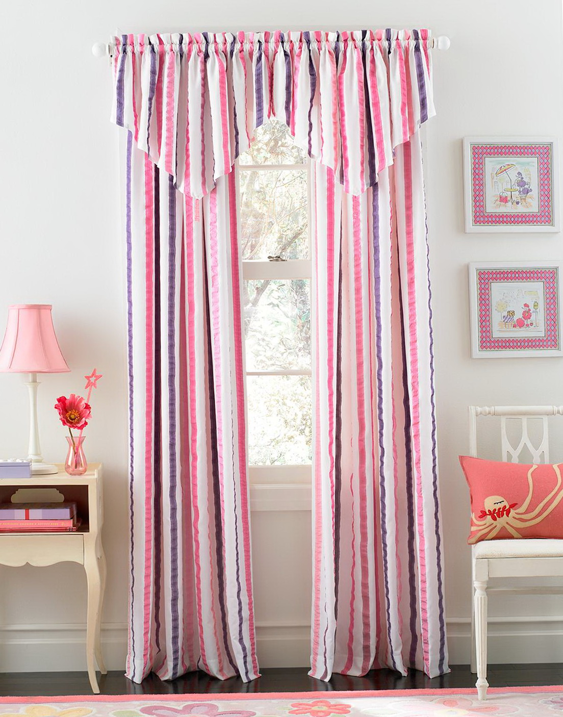 Pink And Grey Striped Curtains