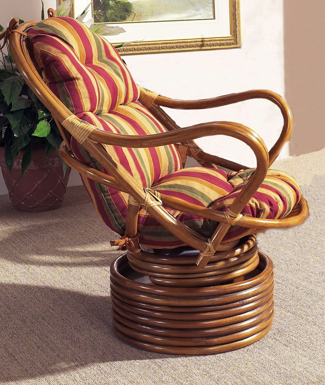 Delicieux Rattan Swivel Chair Cushions