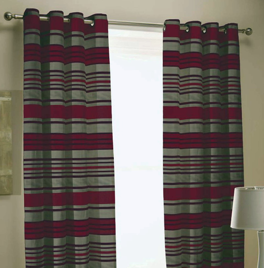 Red And Grey Striped Curtains