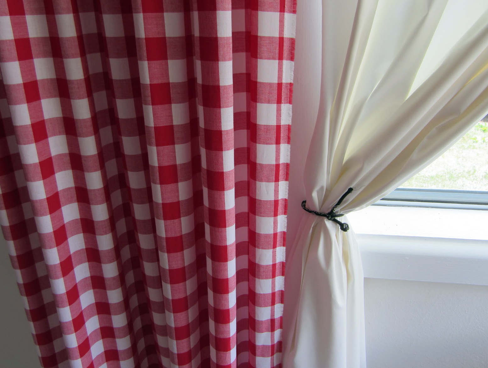 Red Gingham Curtains Long Length