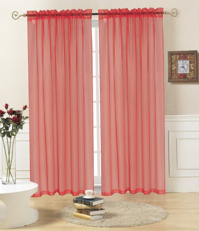 Sheer Red Window Curtains