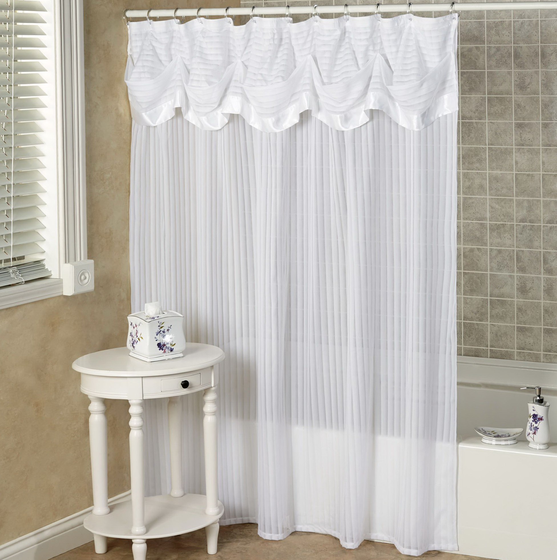 Shower Curtain With Valance Attached Home Design Ideas
