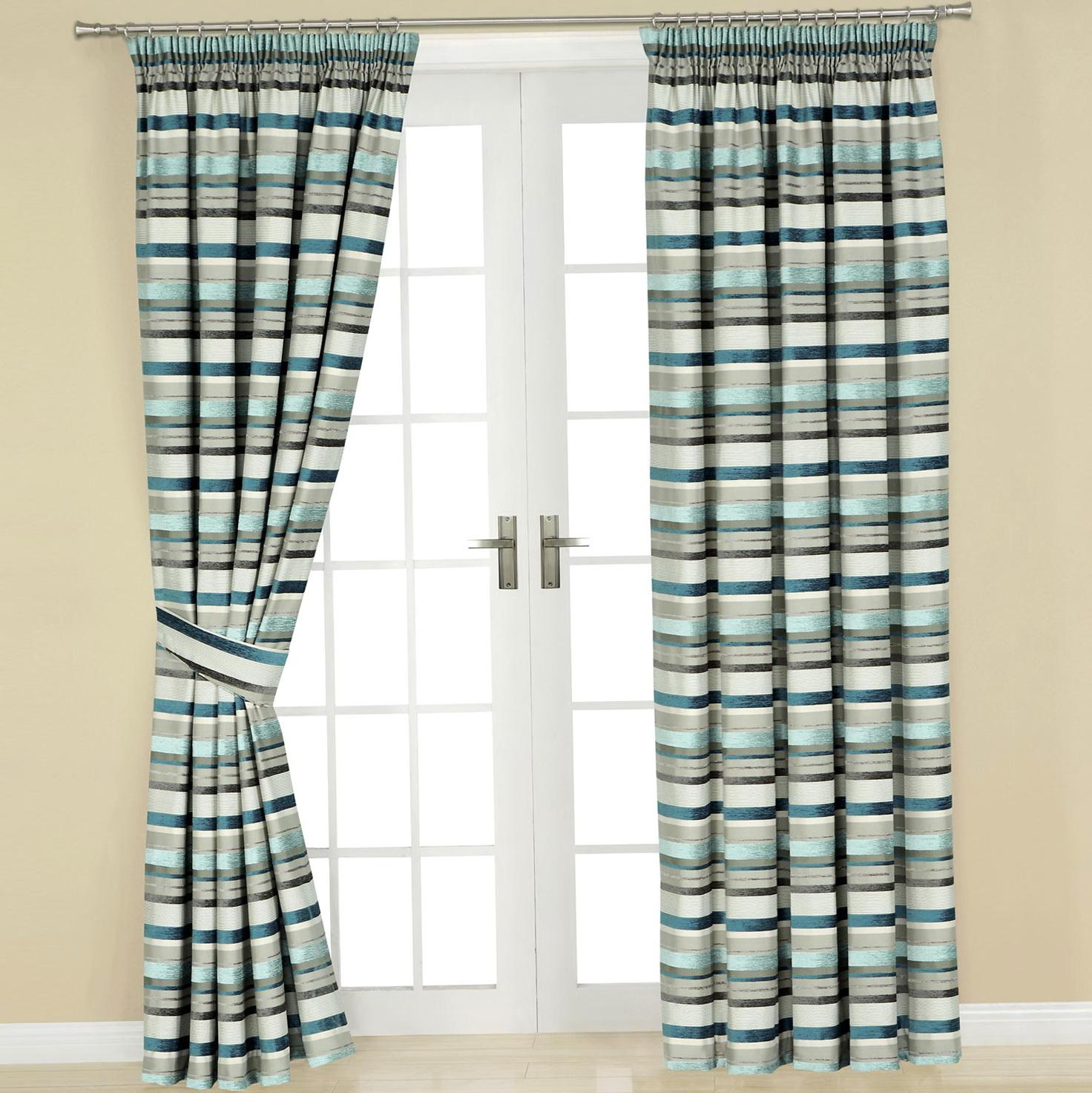 Teal Horizontal Stripe Curtains