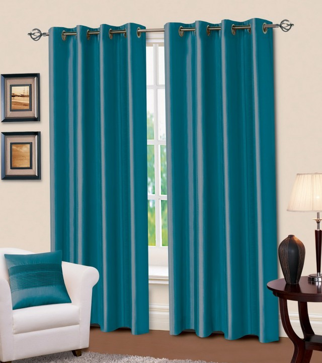 Teal Ring Top Curtains