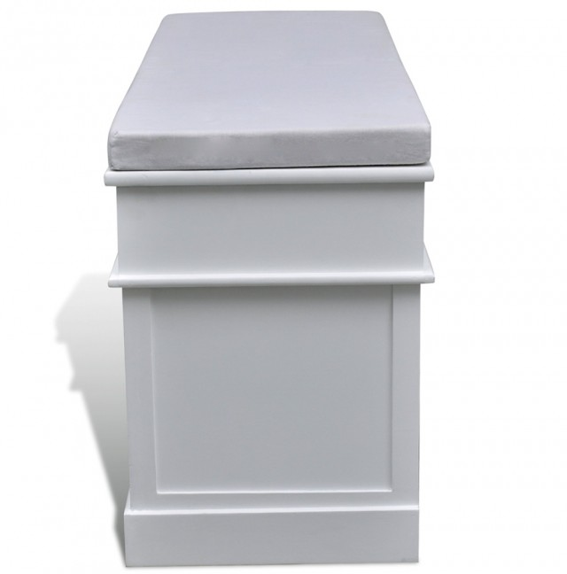 White Cushioned Storage Bench