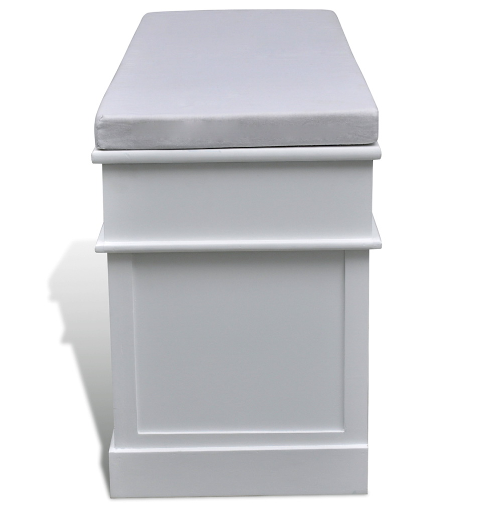 White Cushioned Storage Bench Home Design Ideas