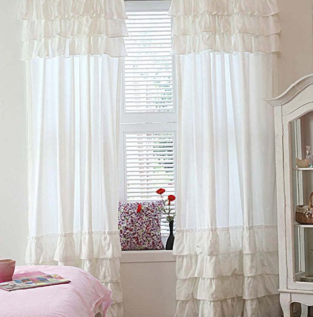 White Ruffle Curtain Panels