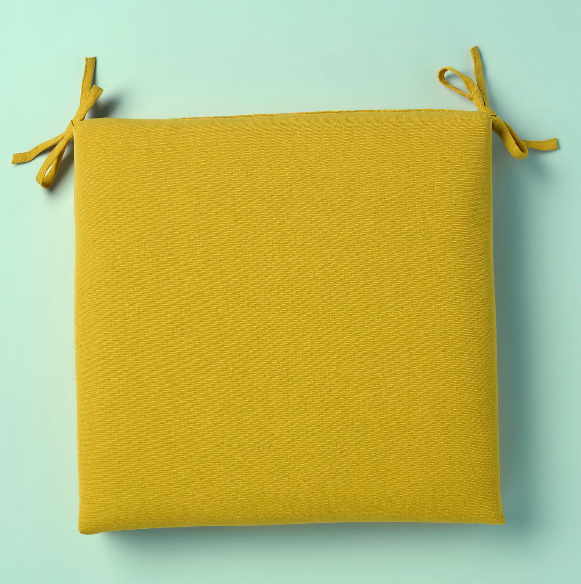 Yellow Chair Cushions With Ties