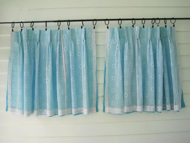 Aqua Sheer Curtains Panels