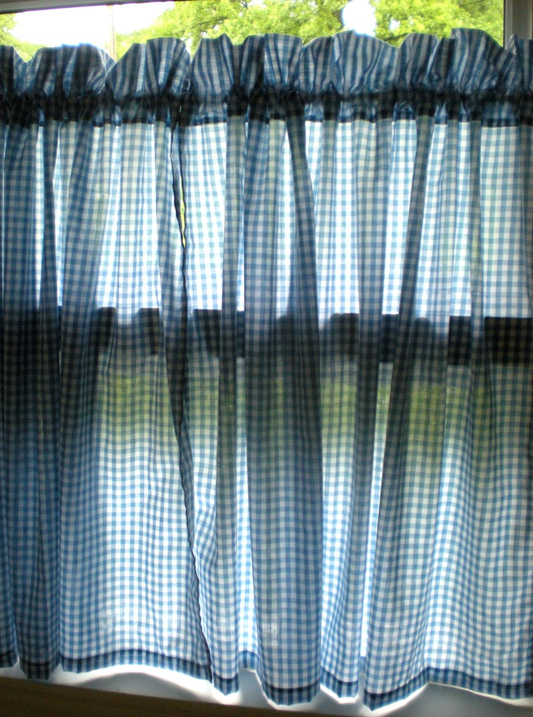 Blue See Through Curtains