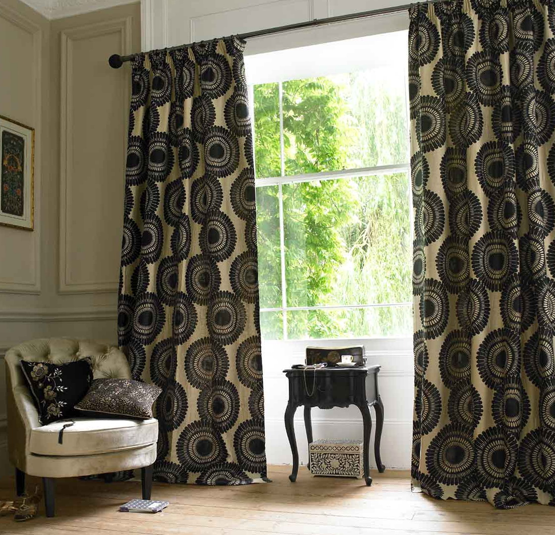 Cream And Black Damask Curtains