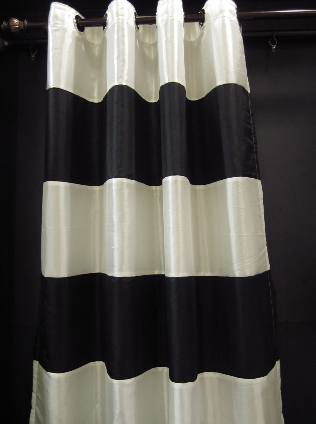 Cream And Black Striped Curtains