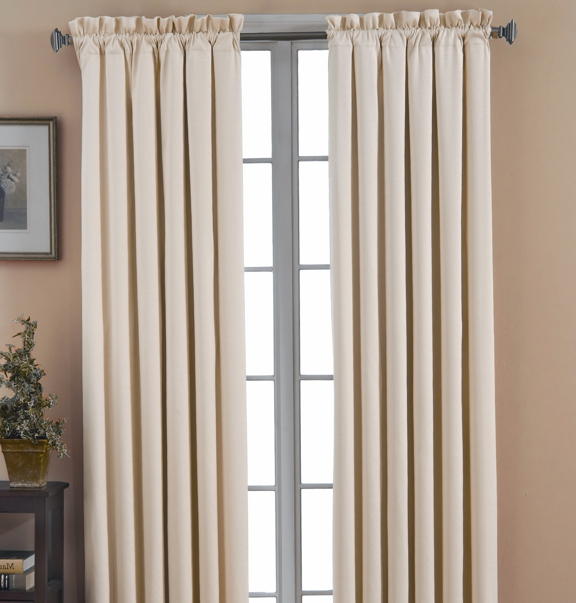 Cream Blackout Curtains Pencil Pleat