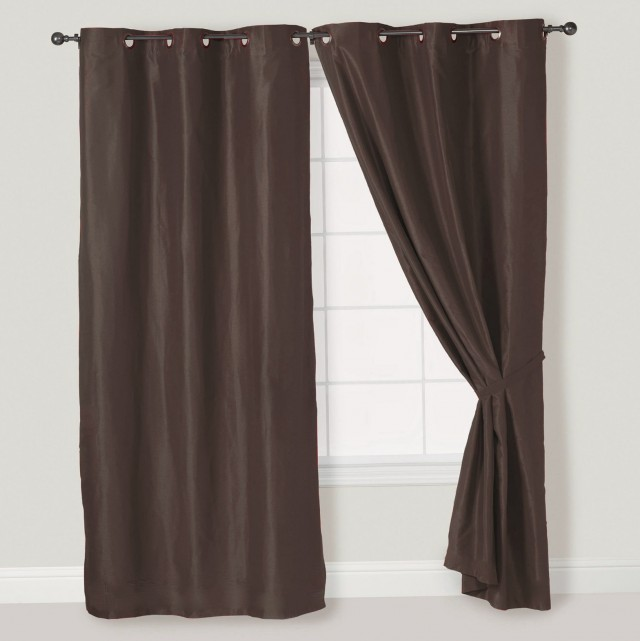 Faux Suede Curtains Chocolate