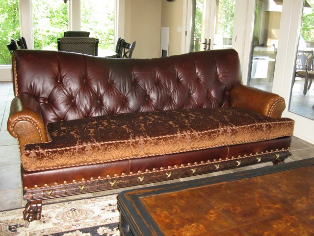 Leather Sofa With Cloth Cushions