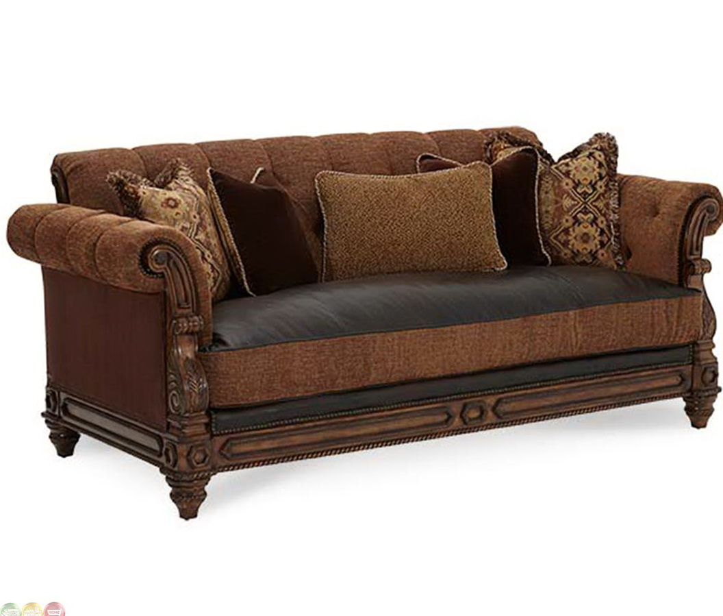 Leather sofa with fabric cushions home the honoroak for Cushions for leather sofas