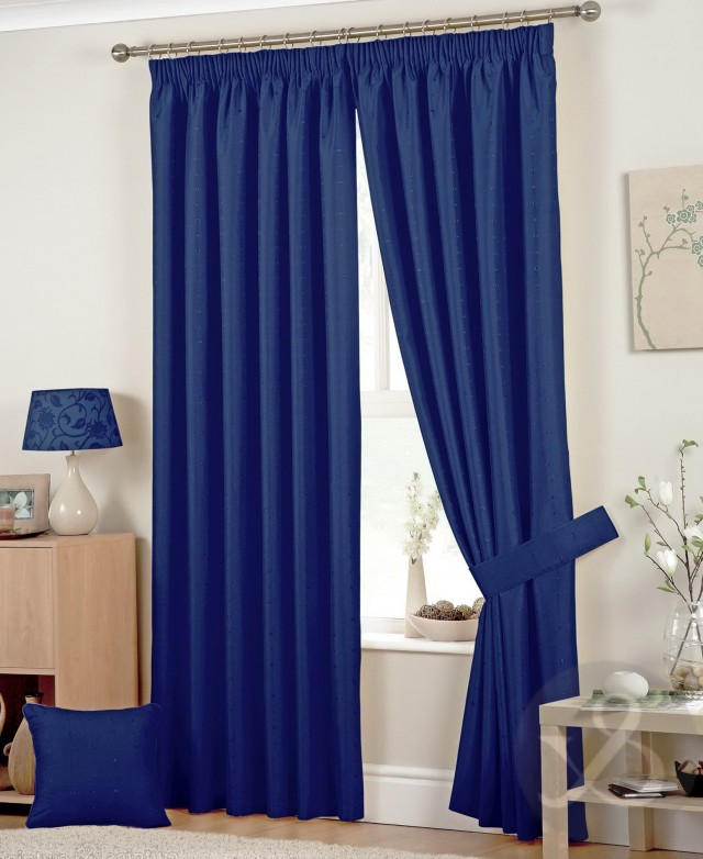 Navy Blue Linen Curtains