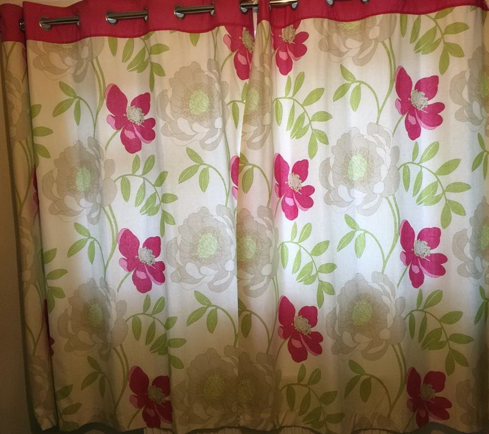 Pink And Green Floral Curtains