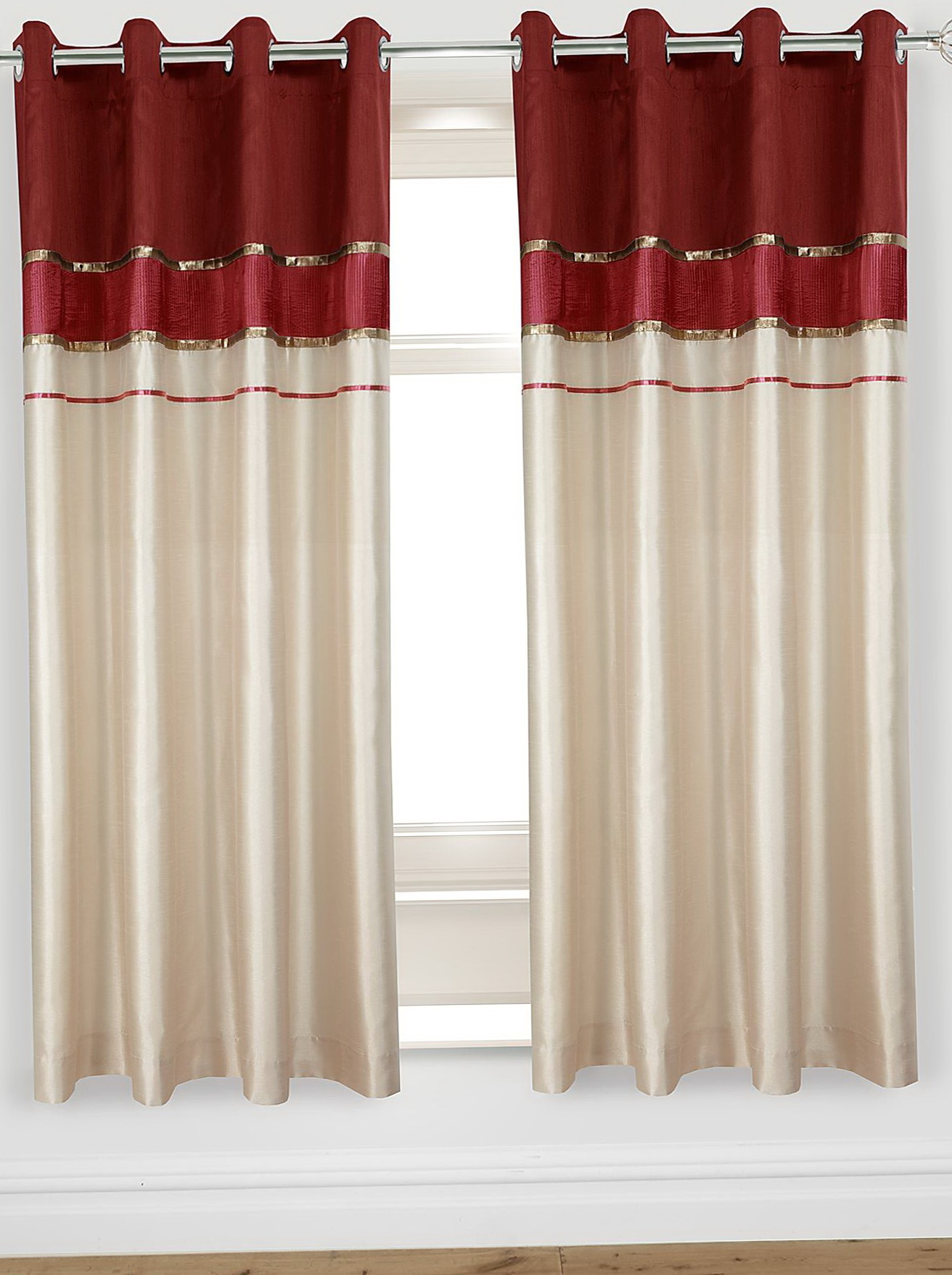 Red And Cream Curtains With Eyelets Home Design Ideas