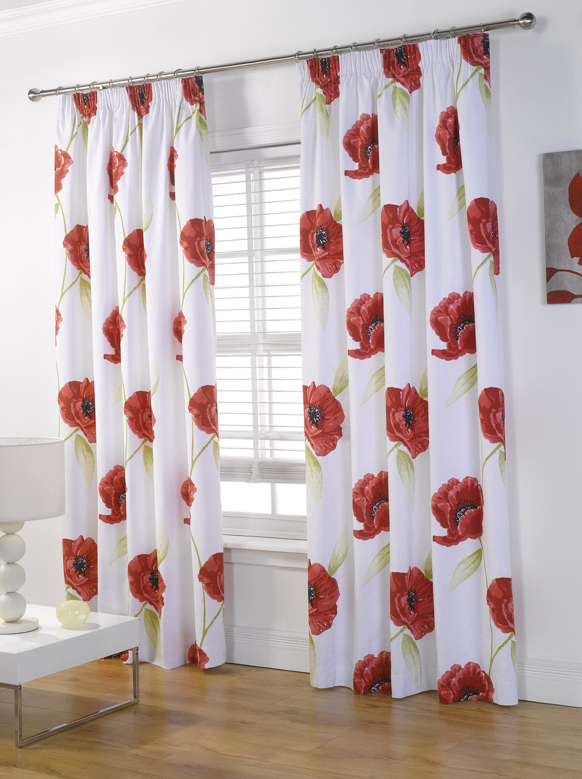 Red And Cream Floral Curtains