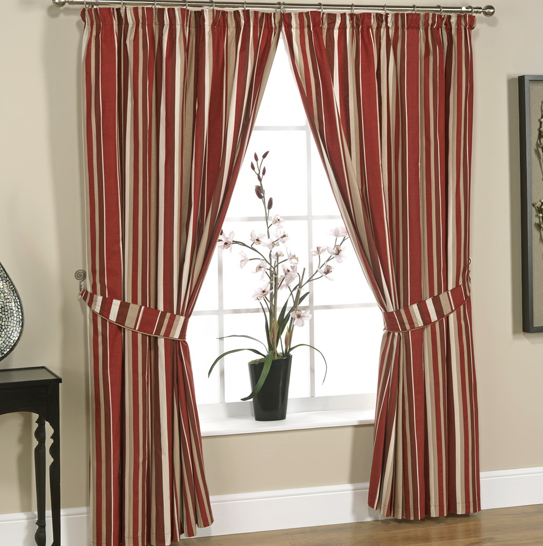 Red And Cream Striped Curtains Home Design Ideas