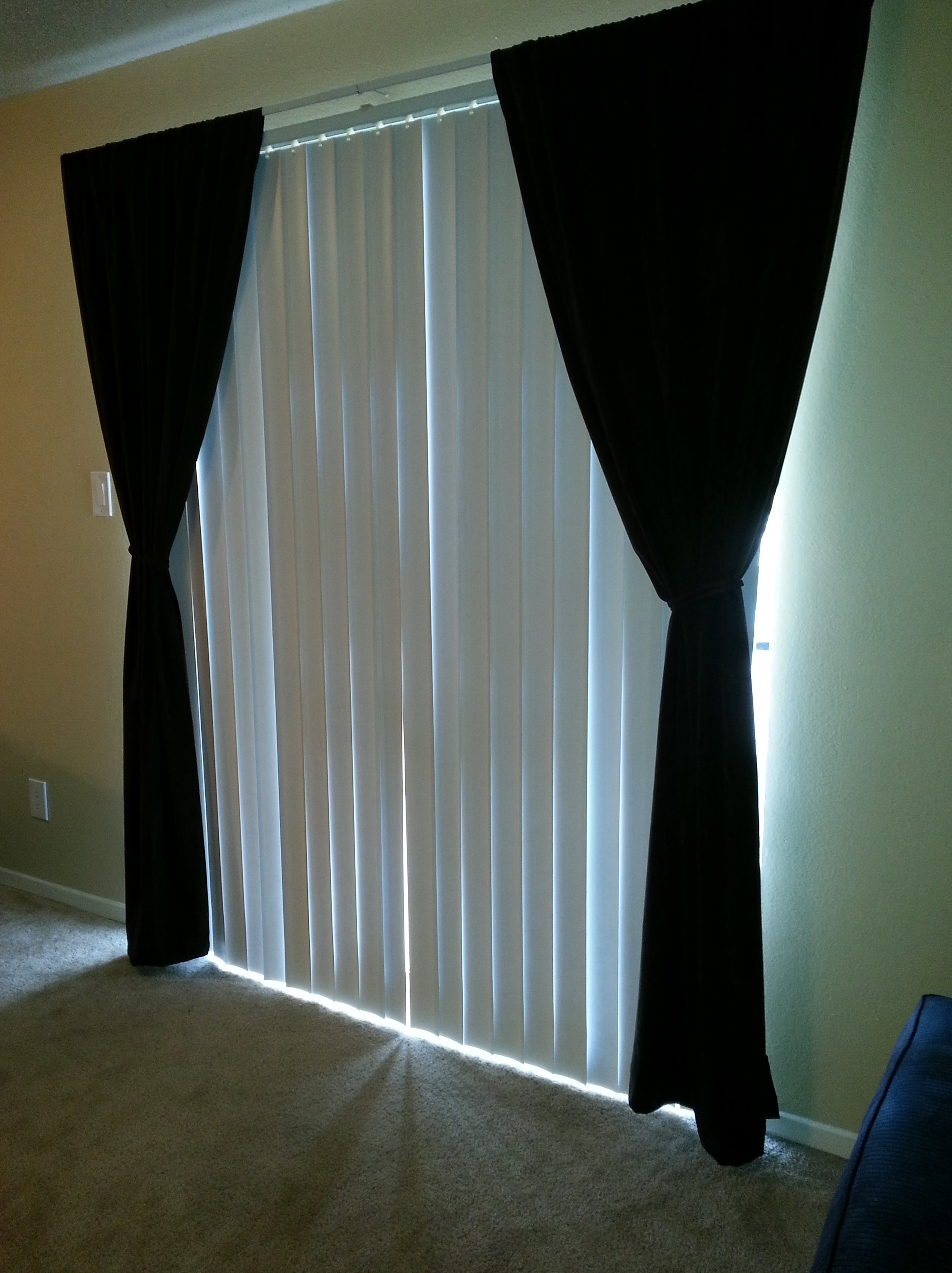 Vertical blinds and curtains together home design ideas Curtains and blinds