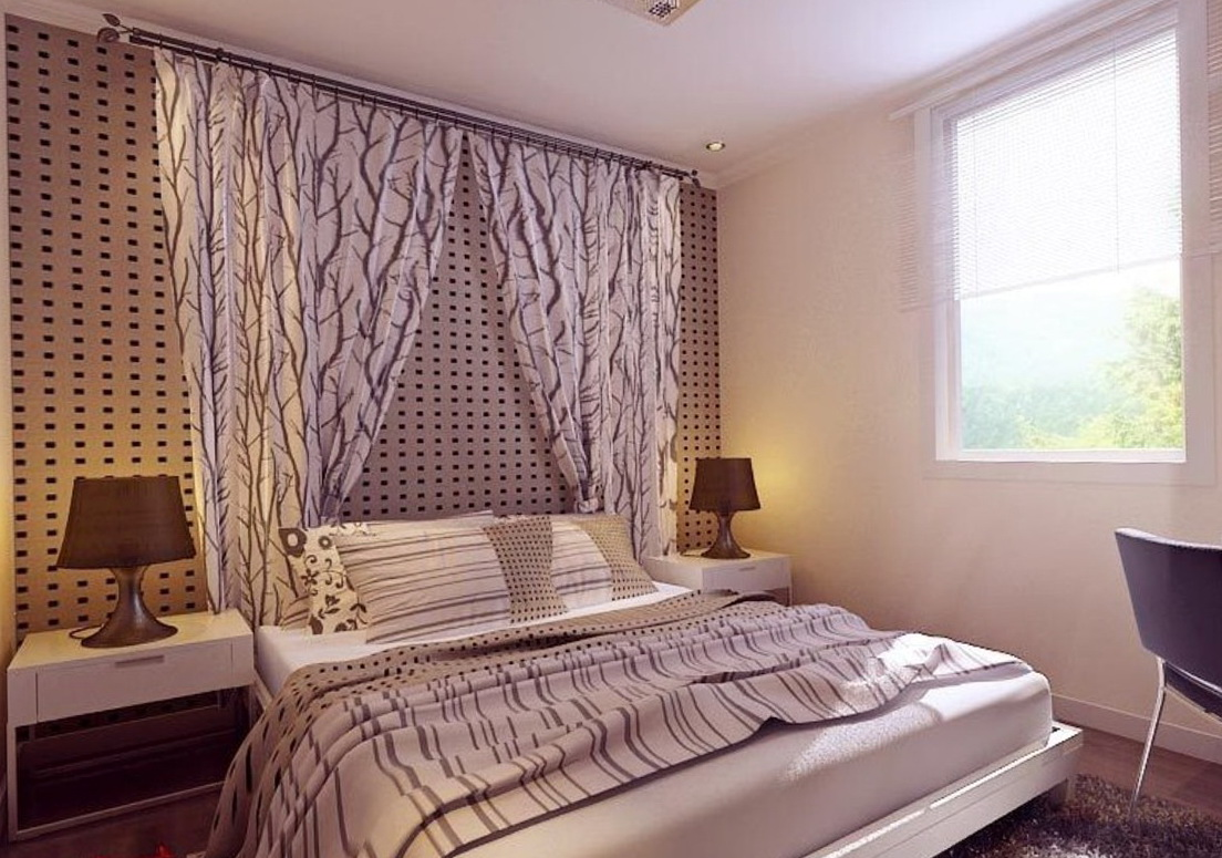 Wall to wall curtains in bedroom home design ideas for Wall to wall curtain
