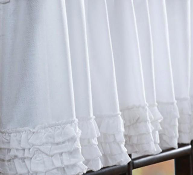 White Ruffled Window Curtains
