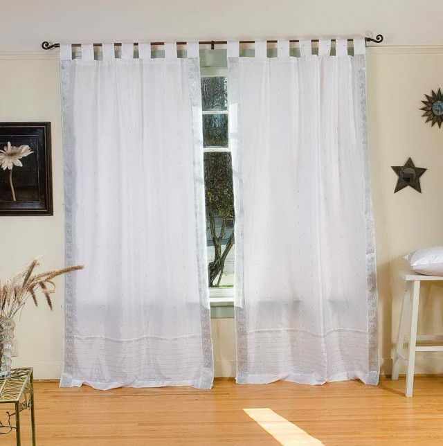 White Tab Top Curtains 63