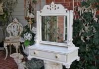 Antique Wood Vanity With Mirror