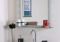 bathroom wall mirror with shelf