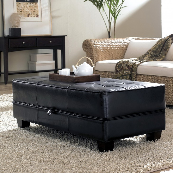 Permalink to Black Leather Storage Ottoman Coffee Table