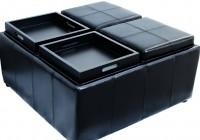 Black Leather Storage Ottoman With 4 Trays