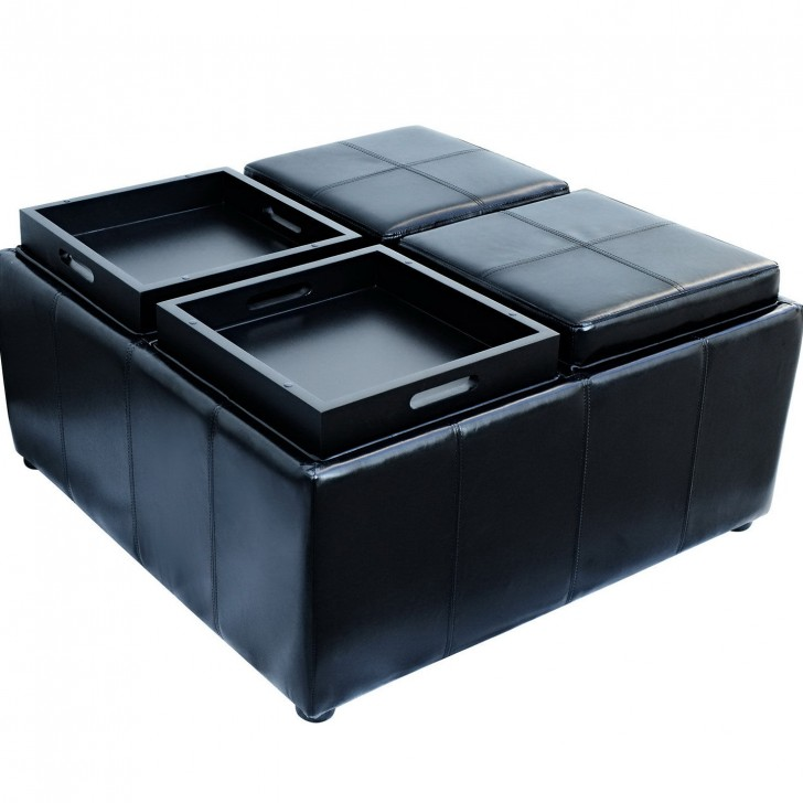 Permalink to Black Leather Storage Ottoman With 4 Trays