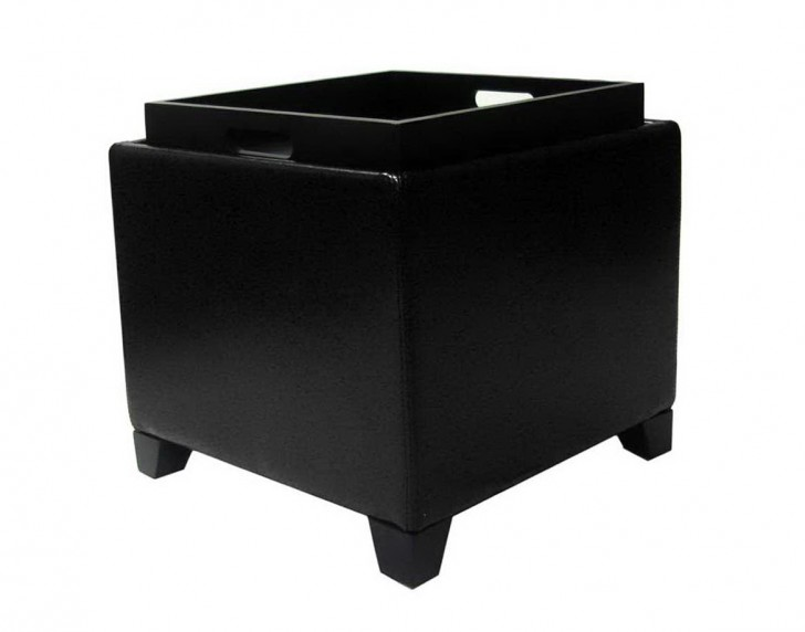 Permalink to Black Ottoman With Storage Tray