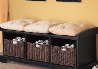 black storage bench with baskets