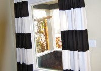 Black White Horizontal Striped Curtains