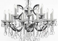 Black Wrought Iron And Crystal Chandelier