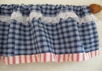blue plaid kitchen curtains