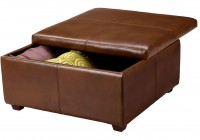 Brown Leather Storage Ottoman Square