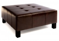 Brown Tufted Leather Ottoman