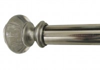 brushed nickel curtain rods and finials