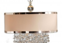 Chandelier With Drum Shade And Crystals