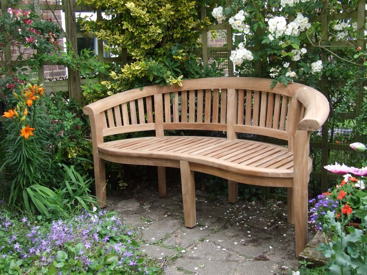 Permalink to Curved Teak Garden Bench