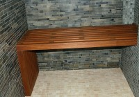 Dark Wood Shower Bench