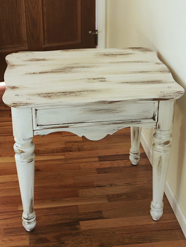Permalink to Distressed White Accent Table