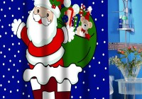 Fabric Christmas Shower Curtain