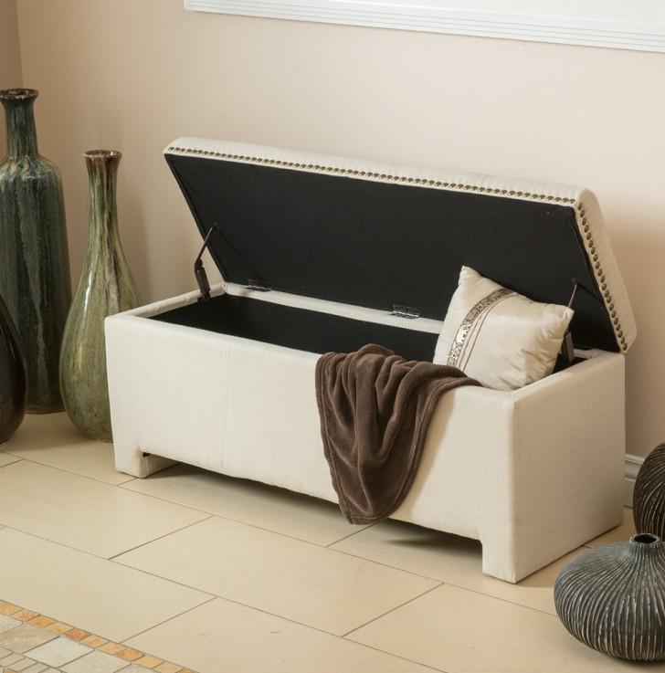 Permalink to Fabric Storage Ottoman Bench