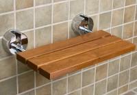 folding teak shower bench