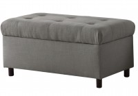 Gray Tufted Storage Bench